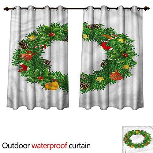 cobeDecor Christmas Outdoor Curtain for Patio Cute Dressed Wreath W72 x L63(183cm x 160cm) (Kohls Wreath Christmas)