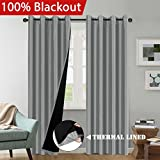 Cheap H.VERSAILTEX 100% Blackout Thermal Insulated Extra Long Grey Curtains Faux Silk Lined Curtain Panels Window Treatment Nickel Grommet Panel Draperies for Living Room/Patio Door(52×108 Inch – Set of 2)