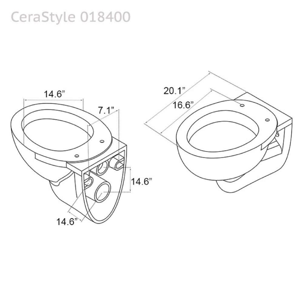 Cerastyle 018400 Lila Round Ceramic Wall Mount Toilet, White by CeraStyle