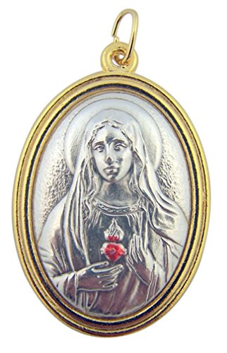 Gold and Silver Tone 1 1/2 Inch Immaculate Heart of Mary Medal