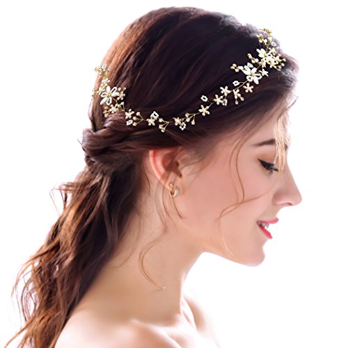 Aukmla Stylish Gold Headbands White Flowers Crystals Headpieces Wedding Hair Accessories for the Bride and Bridesmaid