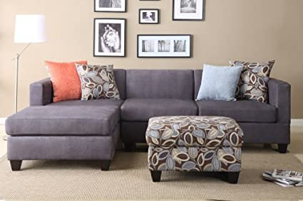 Furniture2go F7183 Everest Charcoal Microfiber Sectional Sofa   Reversible  Left/Right Chaise, 2