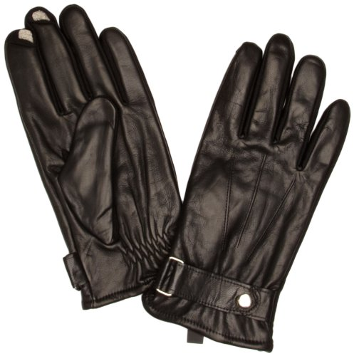Isotoner Leather 5 Finger Smartouch Men's Gloves Black One Size