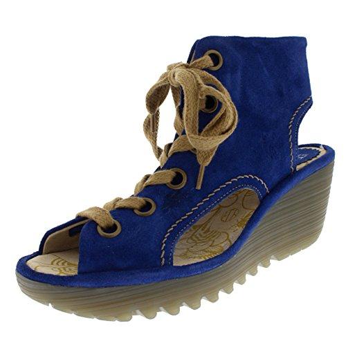 Vlieg Londen Vrouwen Yaba Suede Vakantie Blauwe Open Teen Schoenen Zomer Sandalen Blauw