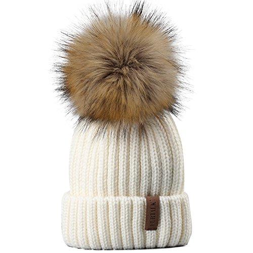 Kids Winter Knitted Pom Beanie Bobble Hat Faux Fur Ball Pom Pom Cap Unisex Kids Beanie Hat,White,One Size