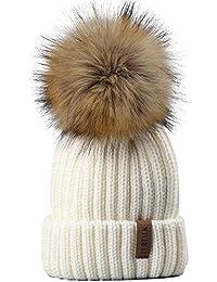 Kids Winter Knitted Pom Beanie Bobble Hat Faux Fur Ball...