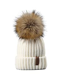 FURTALK Kids Winter Knitted Pom Beanie Bobble Hat Faux Fur Ball Pom Pom Cap