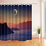 SZDR Natural landscape decoration shower curtain, the sky appears solar eclipse, bathroom accessories, 69X70 inches, perfect anti-mildew polyester fabric shower curtain.