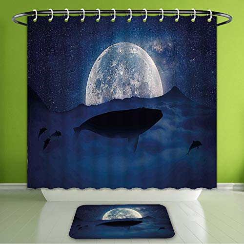 (Waterproof Shower Curtain and Bath Rug Set Whale Silhouette of A Whale Under Full Moon Starry Sky Night Cosmos Space Mysti Bath Curtain and Doormat Suit for Bathroom Extra Long)