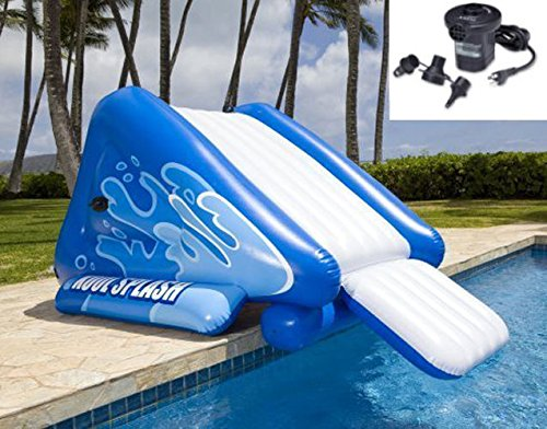 New Shop INTEX Kool Splash Inflatable Swimming Pool Water Slide + Quick Fill Air Pump by Intex