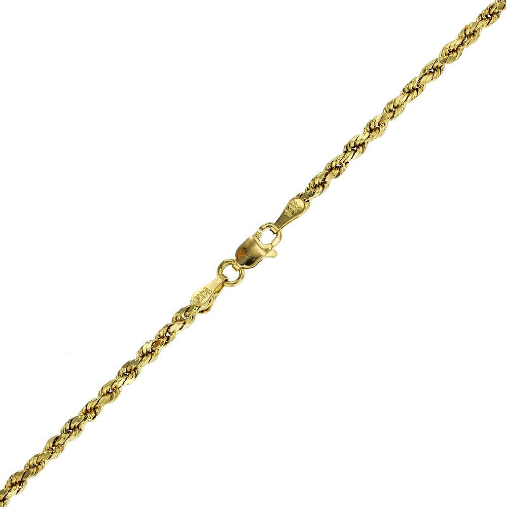 14k Yellow Gold Diamond Cut Hollow Rope 2.50MM 018 7'' Bracelet