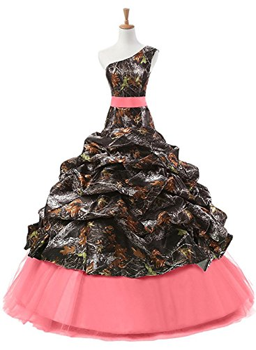 PrettyWish One Shoulder Pleated Ball Quinceanera Prom Gowns Reception Dress Camo Watermelon us8