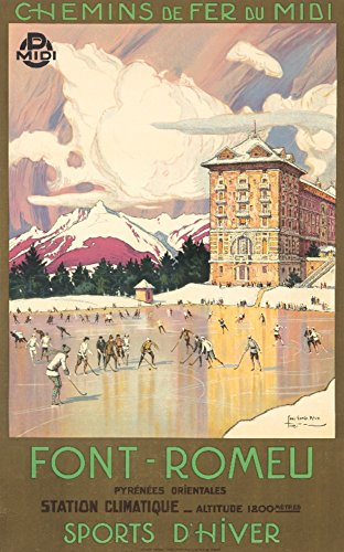 Font-Romeu - Sports d'Hiver Vintage Poster (artist: Roux) France c. 1923 (12x18 Art Print, Wall Decor Travel Poster)