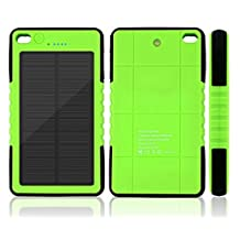 Sunyounger™ 8000mAh Portable Power Bank Shockproof Waterproof Dustproof Solar Charger 5v 200mA Solar Panel USB Port Portable Charger Backup External Battery Power Pack for iPhone 6 Plus 5S 5C 5 4S 4, iPad Air Mini, iPods(Apple Adapters not Included), Samsung Galaxy S5 S4 S3,Note 4 3 2, Nexus, HTC, Android Phones,Windows phone, Bluetooth Speakers, MP3, Tablets and Other Devices Green Color