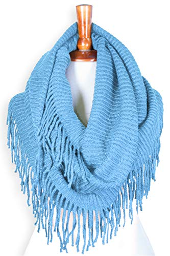 Basico Women Winter Warm Knit Infinity Scarf Tassels Soft Shawl Various Colors (French Blue)