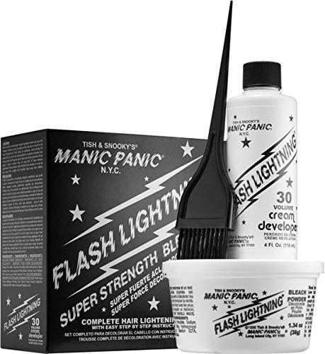 Hair Lightening Kit - Manic Panic Flash Lightning Hair Bleach Kit - 30 Volume Cream Developer - Hair Lightener Kit for Light, Medium Or Dark Brown & Black Hair Color - Hair Bleach Powder Lifts Up To 5 Levels of Lightening