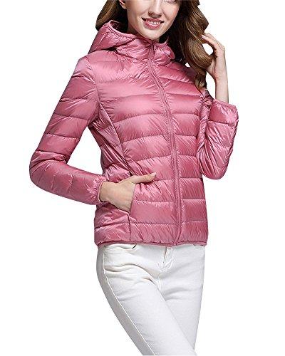 ZhuiKun Down Puffer Jacket Coat Women's Hooded Packable Ultra Light Weight Short Down Outdoor Coat Pink