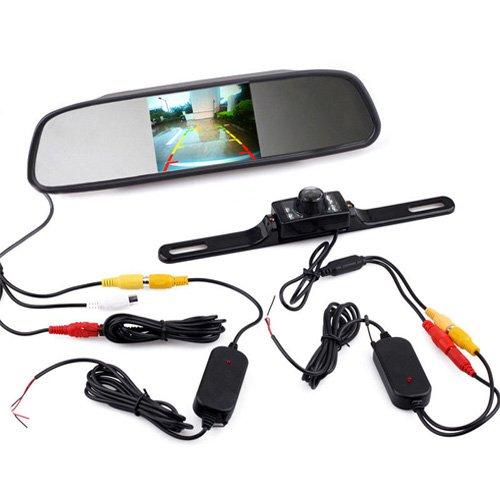 Simply Silver - 4.3'' LCD Rear View Monitor and Backup Night Vision Camera Car Tuck Wireless Kit