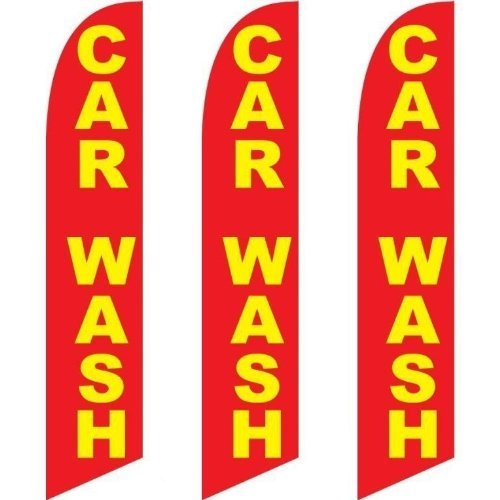 Three (3) Pack Full Sleeve Swooper Flags CAR WASH Red w Big Yellow Text