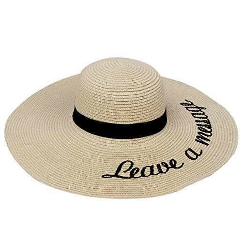 Embroidered Leave a Message Sun Floppy Hat, - International Hat
