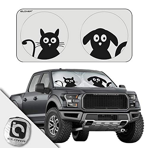 IC ICLOVER Car Windshield Sun Shade, Extra-Large Sun Visor Blocks UV Rays Keeps Vehicle Cool-Foldable Pet Design Sunshade with Free Storage Bag for SUVs, Trucks, Vans (75 x 35 Inches)