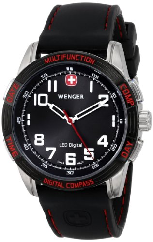 - Wenger Men's 70430 Nomad Compass Red LED Black Silicone Strap Watch