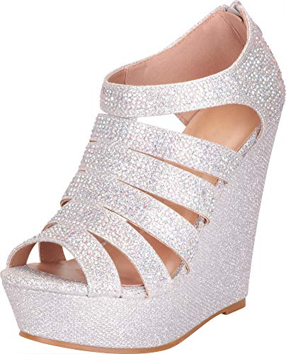 Cambridge Select Women's Open Toe Strappy Cutout Caged Crystal Rhinestone Chunky Platform Wedge Sandal,6 B(M) US,Silver Glitter