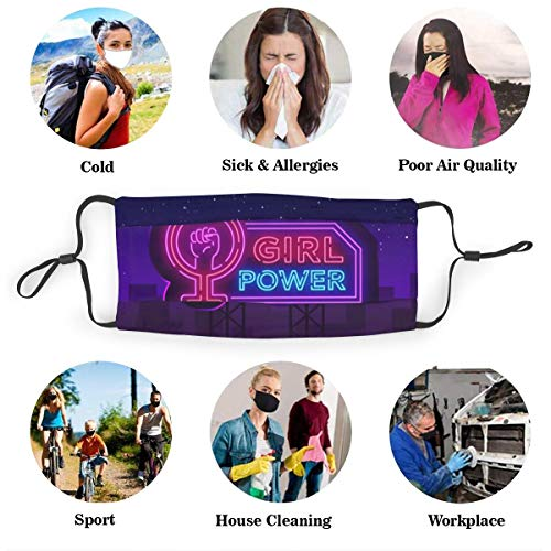 MAMIBAOYA Girls Power Neon Sign Fashionable Slogan Feminist KN95 Mouth Mask, Replaceable Filter Element for Reuse Mask Personality Printed Anti-Pollen Dust Mask Anti-dust Polyester Face Mask