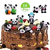 12 Pack Cute Panda Cake Toppers,Party Favors Cupcake Toppers Decoration,Fun Office Decorative Decoration,Kids Party Toys Stress Reliever Toy