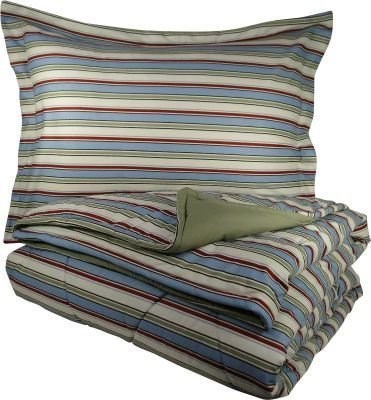 Shavel Home Products MFNCMKGAWNW Micro Flannel King Reversible Comforter with 2 King Shams, Awning - Bedding Stripe Awning