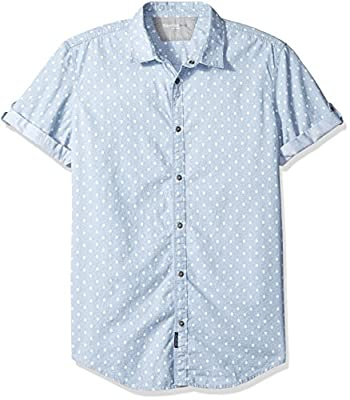 Calvin Klein Jeans Men's Short Sleeve Geo Chambray Print Button Down Shirt