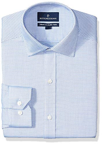 (BUTTONED DOWN Men's Tailored Fit Spread-Collar Pattern Non-Iron Dress Shirt, Blue/Navy Micro Check, 18.5