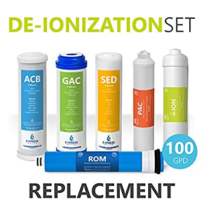 Express Water – 1 Year Deionization Reverse Osmosis System Replacement Filter Set – 6 Filters with 100 GPD RO Membrane – 10 inch Size Water Filters