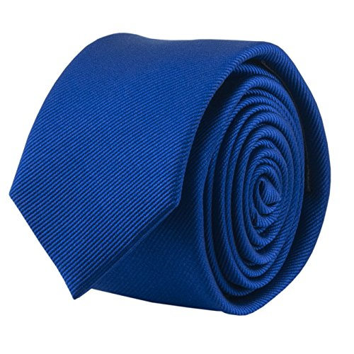 100% Silk Handmade Royal Blue 2 Inch Skinny Tie Men's Necktie by John William (Tie Royal Skinny Blue)