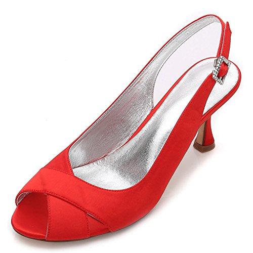 L@YC Frauen Hochzeit Schuhe P17061-16 Satin Peep Toe Braut Brautjungfer Mode Jane Stil Low Heel Party Court Schuhe 3-8 Red
