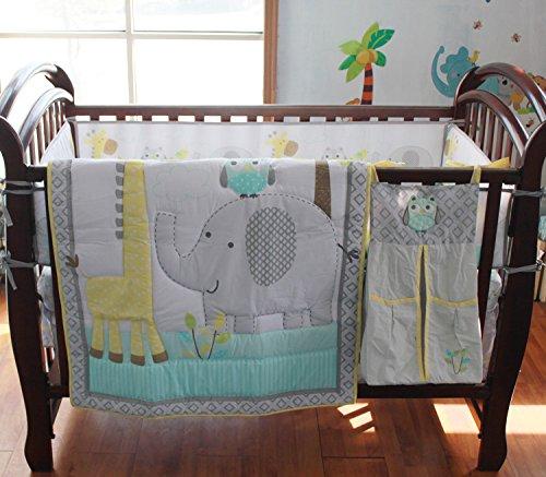 Forest Giraffe Elephant Owl Crib Bedding Set Baby Bedding 10 PCs Set Baby Boy Nursery Crib Bedding Set Grey Comforter+Fitted Sheet+Skirt+Bumper+Diaper Stacker+Window Valance Set Baby Boy Gift Idea