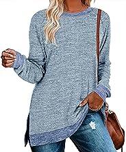 WELINCO Womens Crewneck Sweatshirts Pullovers Color Block Long Sleeve Sweatershirt Tunic Tops