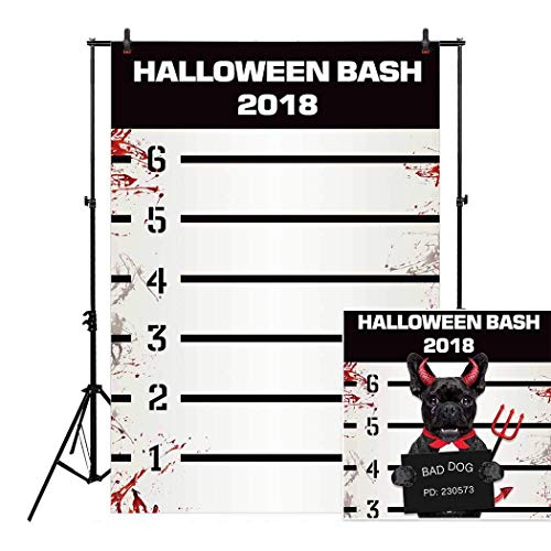 Allenjoy 5x8ft Halloween Themed Bloody Mugshots Mug Shot Backdrop for Bash 2018 Holiday Autumn Birthday Masquerade Party Sweets Table Decor Event Decorations Photo Booth Background Supplies Pictures for $<!--$45.99-->
