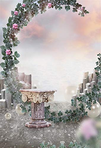 AOFOTO 7x10ft Fantasy Archway Backdrop for Wedding Shower Fairy Tale Garden Flower Arch Retro Stone Table Groom Bride Girls Engagement Newlyweds Photography Background Cloth Photo Studio Prop -
