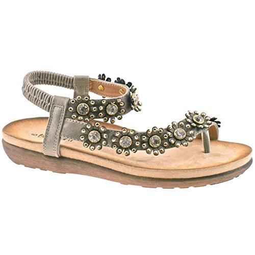 Ladies Boulevard Peintre Diamante Fleur Toe Post Sandales Élastiques L975fs Kd-uk 9 (eu 42)