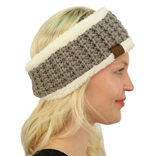 Fleece Headband (CC BEANIE Winter Sherpa Polar Fleece Lined Thick Knit Headband Headwrap Hat Cap Natural Gray)