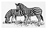 Lunarable Africa Doormat, Zebra Sketch Art Virtue Couple Eating Grass on Field Minimalist Zoo Nature Art, Decorative Polyester Floor Mat with Non-Skid Backing, 30 W X 18 L inches, Black White