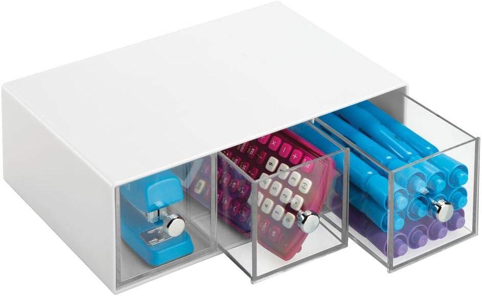 Mini cassettiera da scrivania con 3 cassetti Versatili cassetti scrivania in plastica con pomelli cromati grigio//trasparente mDesign Box organizer ufficio