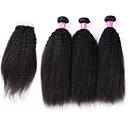 Forawme Brazilian Virgin Hair With Lace Closure 4pcs Lot 14 16 18 With 12 Inch Free Part Kinky Straight Lace Closure With Weaves Unprocessed Human Hair Bundles Extension Company