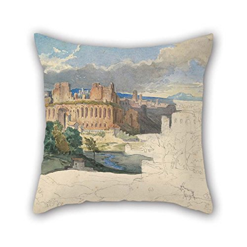 Oil Painting Carl Rottmann - The Ruins Of The Imperial Palaces In Rome Throw Cushion Covers 16 X 16 Inches / 40 By 40 Cm Best Choice For Chair Home Family Car Seat Chair Dinning Room With Double S