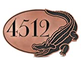 Address Plaque with Alligator 16x10.5 - Handcrafted by Atlas Signs and Plaques | Recessed Copper Coated