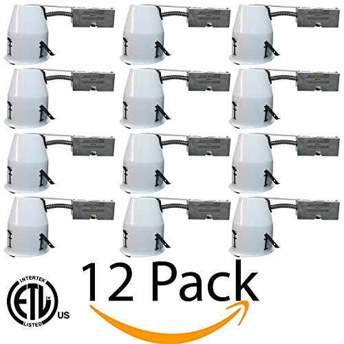 4'' Remodel LED Can, IC Rated Air Tight Ceiling Downlight Can with Junction Box, E26 Screw Base, UL-listed, Aluminum, 12 Pack by EZ In Touch With Tomorrow