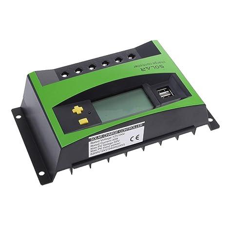 Sharplace Controlador de Carga Solar, 40A 12V/24V PWM ...