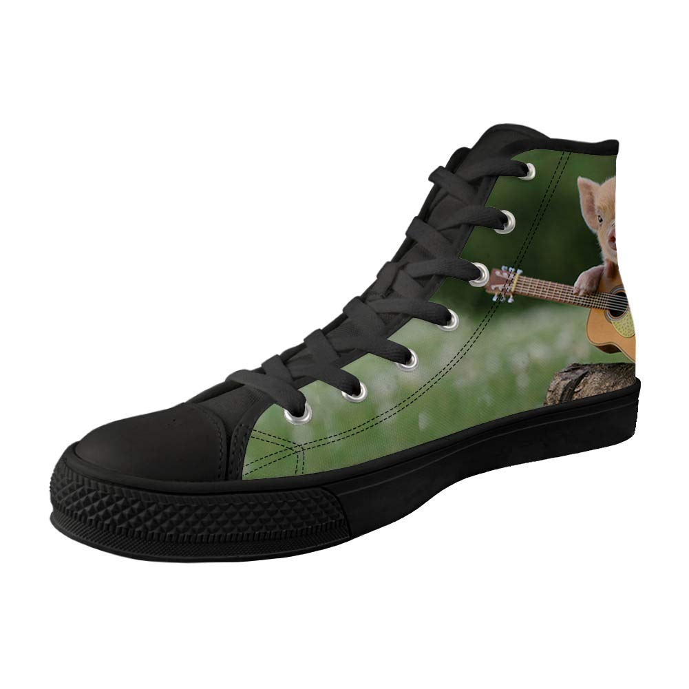 Zzjsstore Design High-Side Canvas Shoes 3D PrintedGuitar Pig Patterned High-Side Black Bottom Canvas Shoes are Suitable for Womens Leisure