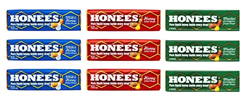 Honees Honey Drops 3 Flavor 9 Pack Variety Bundle, 3 each: Milk & Honey, Honey Menthol, Honey Filled (9 Count)) Lozenges Menthol Eucalyptus